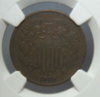 1865/1865 TWO CENT PIECE - 2C - FS-1301 - NGC EXTRA FINE 40BN