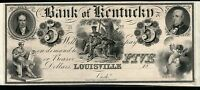 REPRINT  1830'S BANK OF KENTUCKY $5 PROOF FROM OUR OWN COLLECTION 7 VIGNETTE