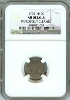 1795 FLOWING HAIR HALF DIME NGC CERTIFIED AU DETAILS  TYPE