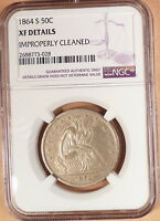 1864 S LIBERTY SEATED HALF NGC GRADED XF DETAILS CLEANED LUSTER BETTER DATE