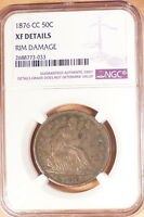 1876 CC LIBERTY SEATED HALF NGC GRADED XF DETAILS RIM DAMAGE SMALL BUMPS