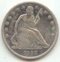 1868 S SEATED LIBERTY HALF DOLLAR VF XF DETAILS