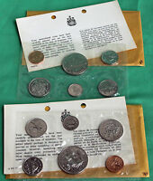 1969 1970 UNCIRCULATED CANADA 6 COIN SETS RCM ISSUED ORIGINAL SLEEVE ENVELOPE R