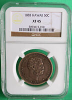 1883 HAWAII FIFTY CENT COIN 50C NGC GRADED XF 45 SILVER R