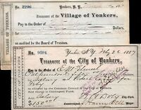 1860'S 80'S YONKERS NY DRAFTS SIGNED BY MAYOR 7.49 EA HISTORIC GEMS CV $75