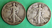 1940 S &1943 S SILVER CIRCULATED $ WALKER WALKING LIBERTY HALF LOT OF 2 COINS R