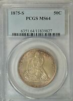 1875 S SEATED HALF DOLLAR PCGS MS64