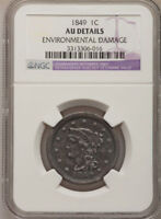 1849 1C LIBERTY BRAIDED HAIRBEST PRICE ON EBAY FOR A CERTFIED AU DETAILS BY NGC