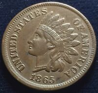 1865 INDIAN HEAD PENNY CENT - FULL LIBERTY WITH FANCY 5