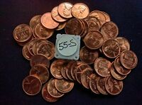 1955S LINCOLN WHEAT CENT ROLL CHOICE BU   50 COUNT