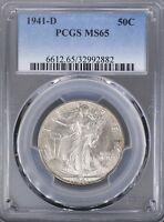 1941 D WALKING LIBERTY HALF PCGS MS65