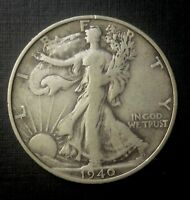 1940S WALKING LIBERTY HALF DOLLAR  90  SILVER US COIN