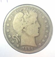 1894 P 50C BARBER HALF CIRCULATED CONDITION 90  SILVER US COIN 242