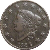 1824 CORONET CENT  ATTRACTIVE EXTRA FINE  N 2 RARITY 1