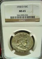 1958 D NGC MS65 FRANKLIN SILVER HALF NICE COIN WITH GREEN PINK GOLD REV