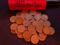 1939 D LINCOLN WHEAT CENT ROLL   AVERAGE CIRCULATED   50 COUNT