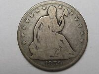 1859 O US SEATED LIBERTY QUARTER DOLLAR LIGHT OBV. SCRATCH.  38