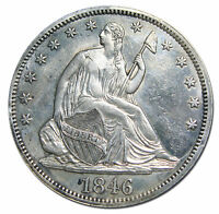 1846 TALL DATE SEATED SILVER LIBERTY HALF DOLLAR 50 COIN LOT MZ 2941
