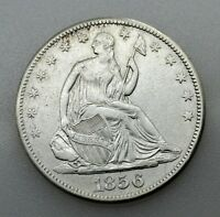 USA SEATED LIBERTY 1856 HALF DOLLAR 50 CENTS SILVER COIN VF/VF