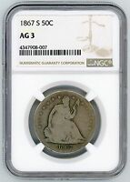 1867 S SEATED 50C NGC AG3