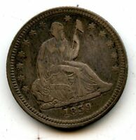 1839 SEATED QUARTER  NO DRAPERY    EXTRA FINE    TYPE   HUCKY