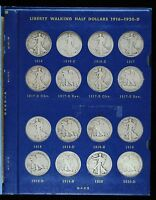 1916-1940S WALKING LIBERTY HALF DOLLAR COMPLETE SET GOOD TO EXTRA FINE