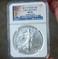 2013 W NGC MS70 EARLY RELEASE SILVER EAGLE GEM MS 70 WITH PURPLE HEART LABEL