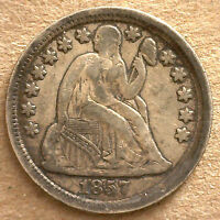 1857 SILVER SEATED LIBERTY DIME US TEN CENTS TYPE COIN VF FINE R