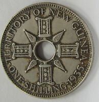 1935 NEW GUINEA ONE SHILLING SILVER COIN
