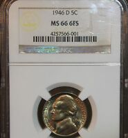 1946 D JEFFERSON NICKEL GEM NGC 66 6 FULL STEPS EXTREMLY  6 FULL STEPS