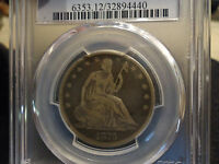 1876 CC 50C  LIBERTY SEATED HALF DOLLAR PCGS F 12
