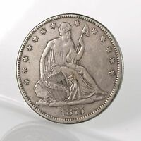 RAW 1875 CC SEATED LIBERTY 50C UNCERTIFIED CARSON CITY SILVER HALF DOLLAR COIN