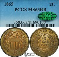 1865 TWO CENT PIECE PCGS & CAC MINT STATE 63 RB  OLD TYPE COIN  TONING / TONED