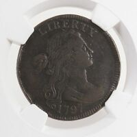 1797 DRAPED BUST STEMS REV OF 97 1C S-140 NGC CERTIFIED VF 25 BN LARGE CENT COIN