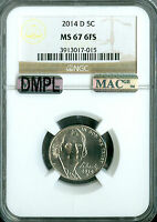 2014 D JEFFERSON NICKEL NGC MAC MS 67 FS DMPL PQ 2ND FINEST GRADE .