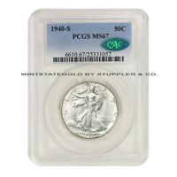 1940-S 50C WALKING LIBERTY PCGS MINT STATE 67 CAC CERTIFIED SILVER HALF DOLLAR GEM COIN