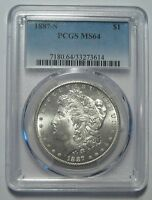 1887-S PCGS MINT STATE 64 MORGAN DOLLAR, NEWLY CERTIFIED, SHIPS FREE