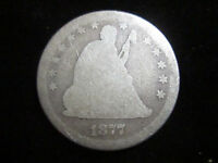 1877 SEATED LIBERTY QUARTER 25 CENT COIN