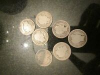 BARBER DIME LOT OF 7 1898 1902 1905 1911 1913 1916 GOOD 90 SILVER COIN