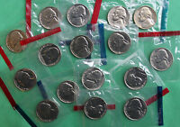 1980   1989 BU JEFFERSON NICKELS 16 P & D COINS US MINT SETS CELLO LOT NO 82OR83