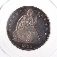 1860 SEATED LIBERTY 50C PCGS CAC CERTIFIED PR63 OGH GREEN LABEL PROOF SILVER PQ