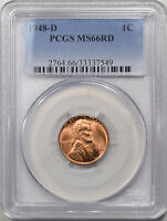 1948 D LINCOLN CENT PCGS MS 66 RD