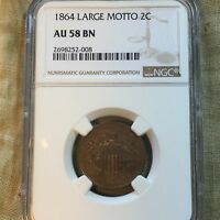 1864 2C TWO CENTS - LARGE MOTTO - NGC AU58 BN