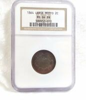 1864 TWO-CENT PIECE LARGE MOTTO CERTIFIED NGC MINT STATE 64 BROWN  2C