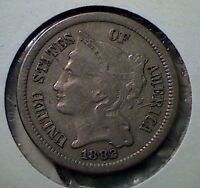 1882  THREE CENT NICKEL   BETTER DATE  VF  LOW MINTAGE