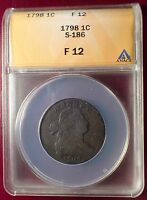 1798 1C CENT WITH DIE CRACK ANACS F12