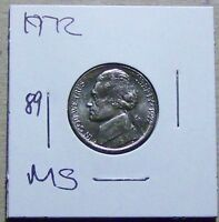 1972 JEFFERSON NICKEL FROM A MINT SET. UNCIRCULATED 89.
