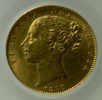 1860 AEF QUEEN VICTORIA GOLD SOVEREIGN LARGE 0 TYPE   CGS 2ND FINEST GRADED
