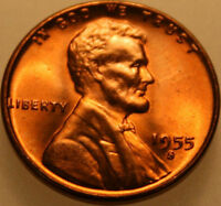 1955 S LINCOLN WHEAT CENT UNCIRCULATED CHOICE RED [SN05]