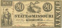 1862 STATE OF MISSOURI $20 CIVIL WAR CURRENCY NOTE   HIGHEST DENOMINATION ISSUED